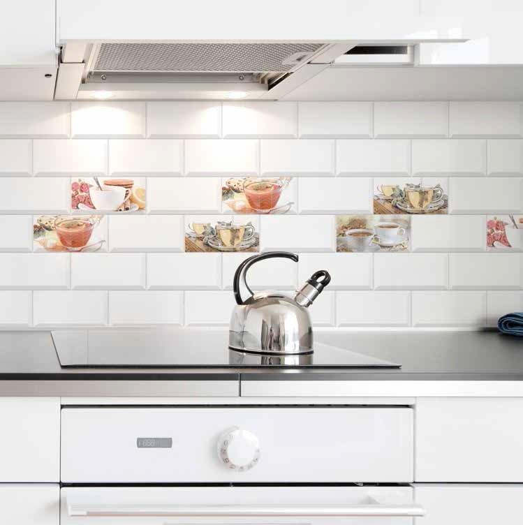 Revestimiento biselado 10x20 blanco decor cups mix brillo for Azulejos de cocina baratos