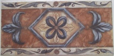 CERAMIC DECORATIVE STAIR RISERS TABICA 16X31,6 FLOWERS LEATHER CD-1155 - AZO
