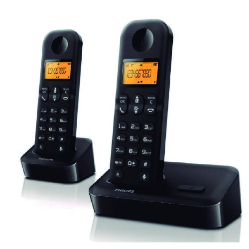 TELEFONO INALAMBRICO PHILIPS DUO, 2 BASES, NEGRO-D1502B/23 - GSC