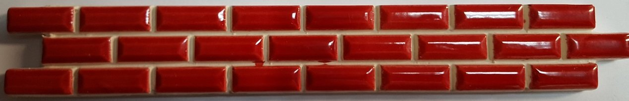 BORDER CERAMIC WALL TILE 3,5X25 MICRO BEVEL RED (Thickness 5 mm) - NKR